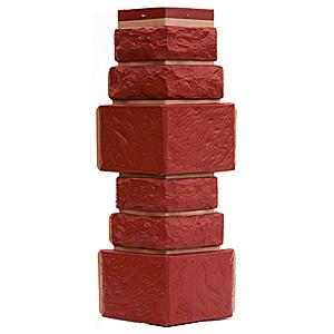 Купить Угол фасадный Т-Сайдинг Дикий камень Красный