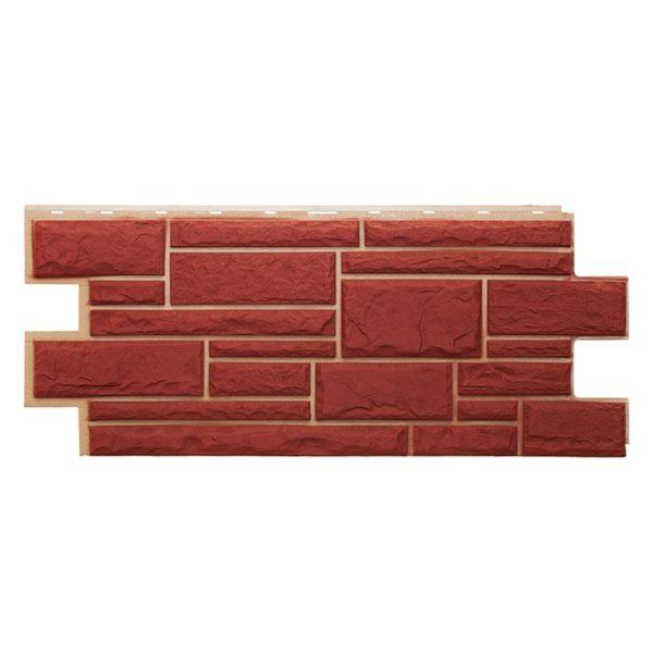 Купить Фасадная панель Т-Сайдинг Дикий камень Красный